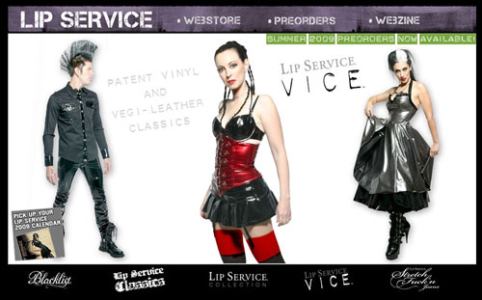 fashion website design - Lip Service Clothing
