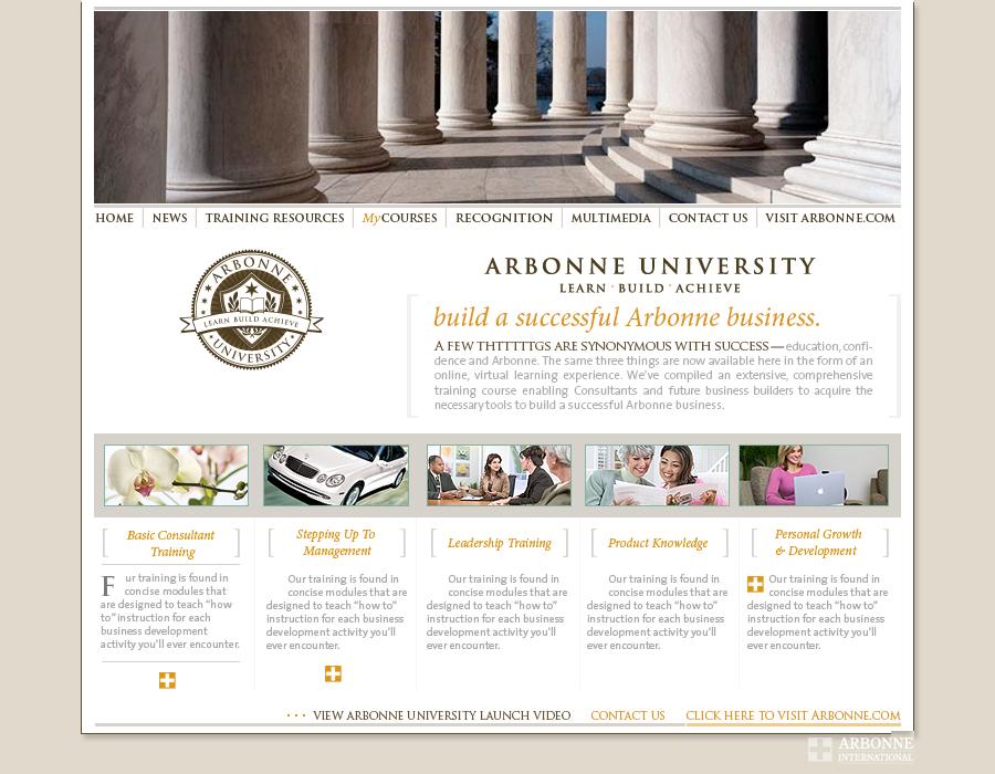 corporate website design - health and beauty  website design - Arbonne International Arbonne University