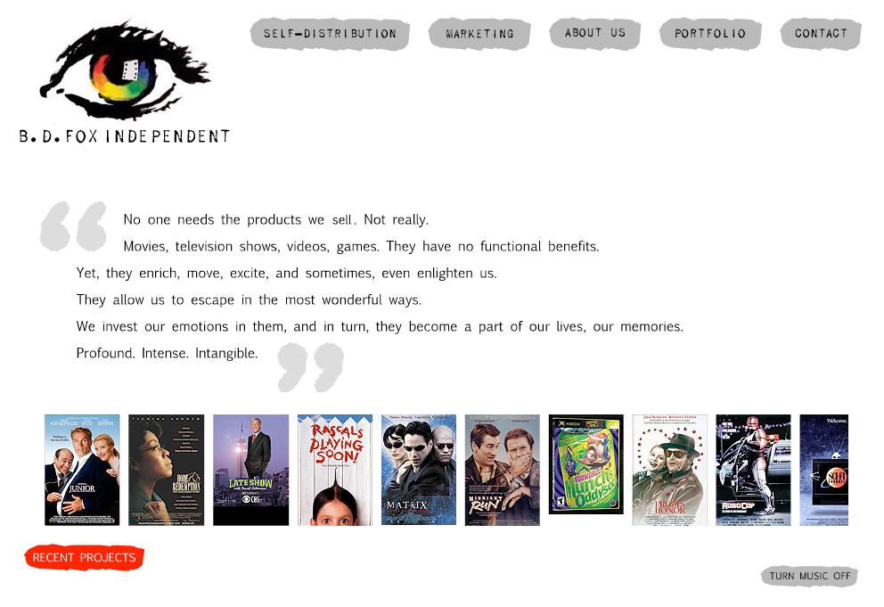 entertainment industry website design - B D Fox
