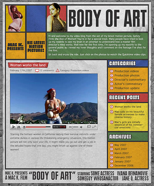 entertainment industry website design - indie film website Body of Art