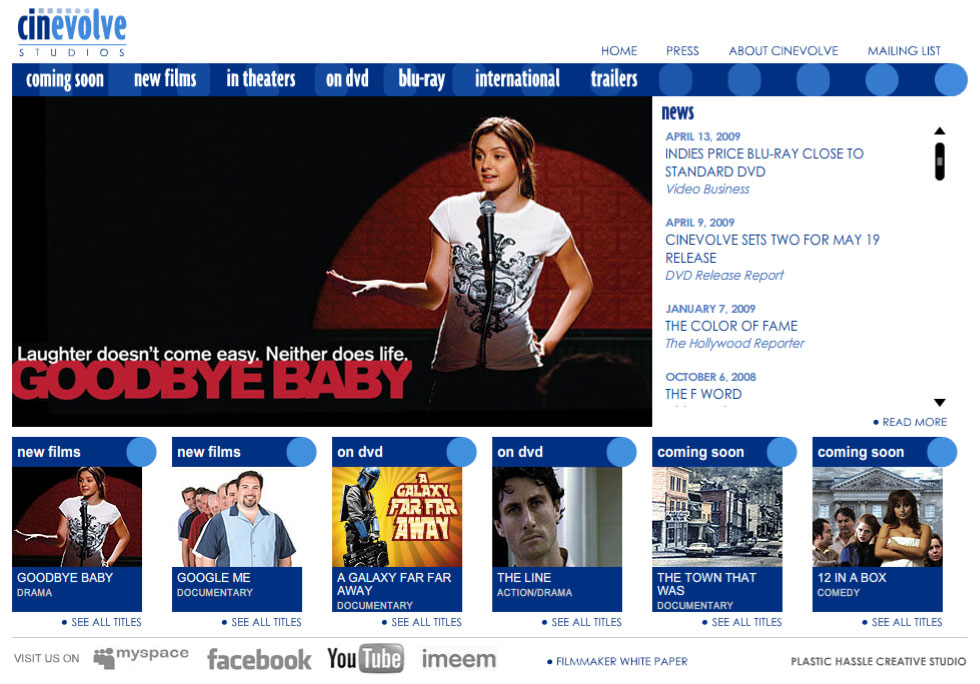 entertainment industry website design - Cinevolve Studios